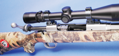 A view of the Savage rifle with the action open