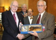 Shown at the Orlando GRPC awards ceremony are: Ambassador Donald A. Mahley, left, US negotiator at the United Nations who withdrew the US from the proposed drafted Arms Trade Treaty in July, who was presented with a Defender of the Constitution award by Alan M. Gottlieb (second from right), and with a special Colt 1911 by Maj. Gen. Gen. Allen Youngman (ret.), executive director of the Defense Small Arms Advisory Council (DSAAC), far right, who himself received a SAF Defender of Liberty award. Second from left is Rep. Joe Barton (R-TX), who was presented with a CCRKBA Lifetime Achievement Award. (TGM photo by Dave Workman)
