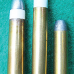 A .45-70, on the right, looks small next to the .50-90 and .45-110.