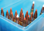 A recent batch of .30-06 loads Workman whipped up, featuring 180-grain Hornady (red tip) InterBond bullets and 180-grain Nosler (white tip) AccuTips.