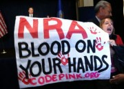 Protesters from Code Pink (pictured above) crashed the nationally televised NRA press conference last December.