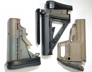 Mission First Tactical's Battlelink Utility Stock (right); Battleline's SAPR (center); Limbsaver's Tactical Snap-on Recoil Pad (left)