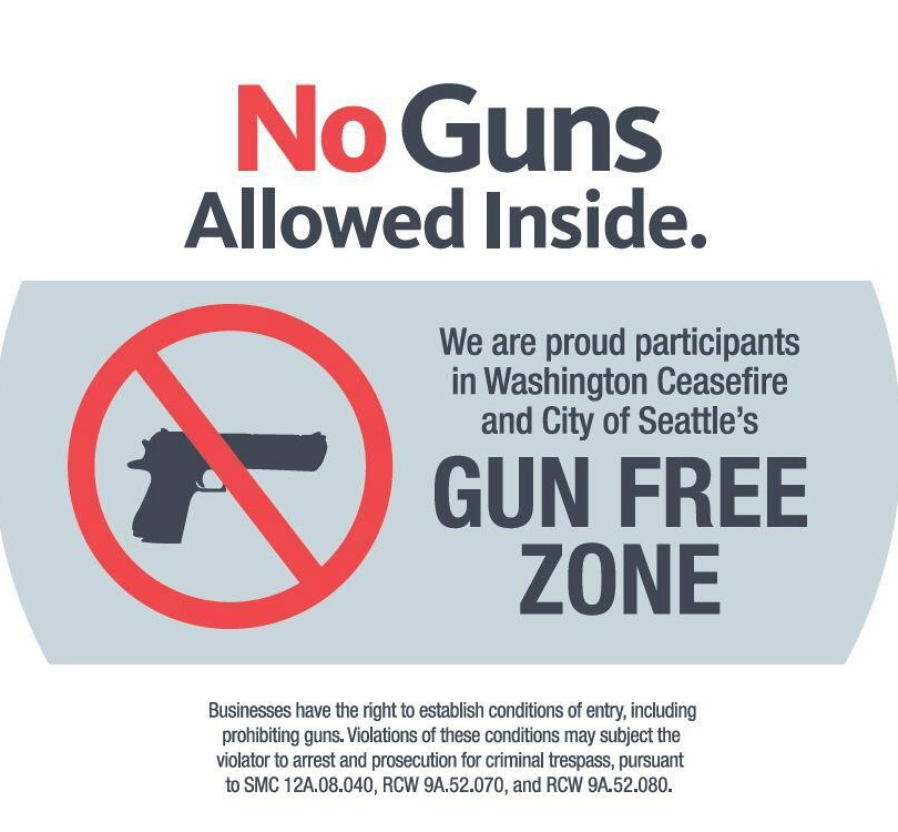 "The Seattle ""Gun Free Zone Sticker"" available for businesses starting this week courtesy of Washington CeaseFire and Seattle Mayor Mike McGinn."
