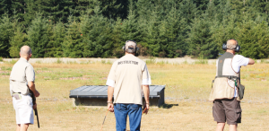 One shooter busts a bird during the action at the Freedom Shootout, which will become an annual event in Washington.