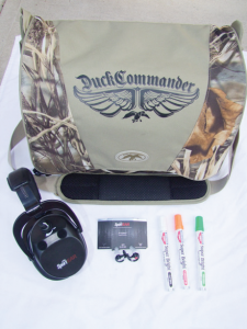 Duck Commander's Daylight Shoulder Double Bag, Sport Ear's XP Series Ear Plugs and XT4 Electronic Muffs to reduce hearing loss plus Birchwood Casey's Super Bright Pens to enhance your front sight.