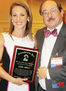 Emily Miller, senior opinion editor of the Washington Times, was presented with the SAF Journalist of the Year Award by SAF Founder and Executive Vice President Alan Gottlieb. Miller has a new book out: Emily Gets Her Gun—But Obama Wants to Take Yours.