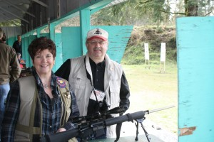 Sen. Roach and author with her AR-15 Colt rifle.