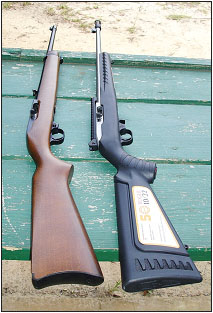 """Two Ruger 10/22s on the range. An original carbine (left) provides comparison with the new 50th Anniversary """"Contest Winner"""" rifle."""