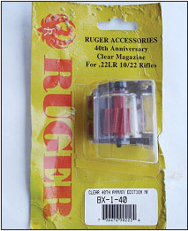 Ten years ago, in 2004, Ruger brought out the 40-year anniversary of the 10/22. New magazines made of clear plastic were featured at that time. This package was never opened.