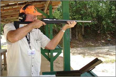 Malloy shot a number of targets from standing position to try out different loads. The rifle handles well from different positions.