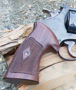 Another maker of handsome hardwood grips with classic styling is Eagle Grips. This N-Frame Smith & Wesson takes on a stylish appearance, and Workman found that even under heavy recoil, they are comfortable.