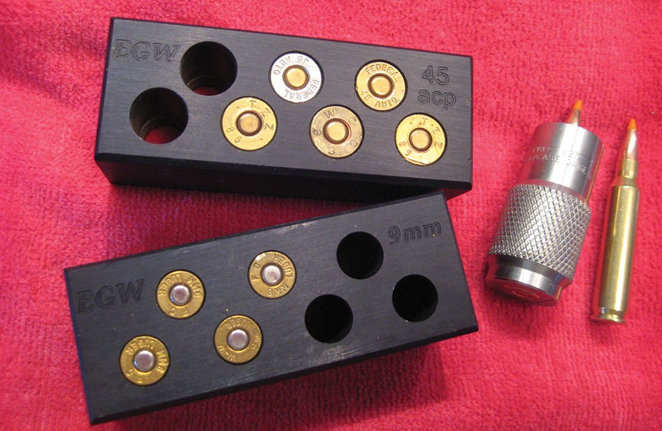 Checking the chamber fit of reloads with the EGW and Dillon Case gauges is a snap and certainly beats using a pistol barrel or cycling ammo through the gun.