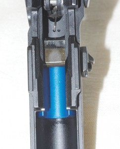 The internal shock buffer to prevent the locking block from battering the frame.