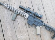 The completed carbine with the Steiner Military 1-5 scope in a LaRue 1.5