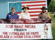 Winners of the Yuengling 50-yard Black Powder Challenge, left to right: JamesFulmer, Ken Millburne, and Steve Rissler. Photo by Betty Dietz