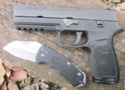 "The SIG P320 pistol, and the ""World Legal"" knife from Lansky Sharpeners."