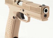 The Strike One AWP (All Weather Pistol) is a tan 9mm standard Strike One with a Cerakote Tan slide.