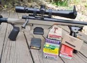 Some of the ammunition tested in the Mossberg MVP LC. Telescope is a Leupold Mark4 3.5-10 x 40mm.