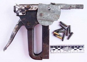 (Folsom State Prison) An industrial staple gun formed the base of this .22 caliber zip gun built at California's Folsom prison more than a decade ago.