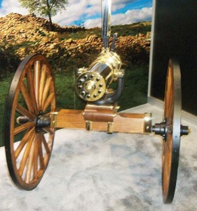Colt's replica of the 1877 Bulldog Gatling gun in the company's booth was available for firing at Media Day on the Range.