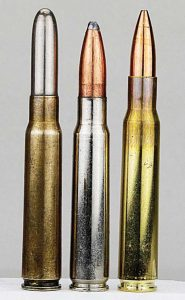"""Handloading the .323"""" bulleted 8x57JS (center) into nickel plated cases helps ID it to prevent confusion with 8x57J (left) and .30-06 (right) cartridges."""