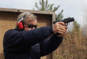 Two cartridge cases are in the air as the Ruger American 9mm cycles. This is not only a controllable handgun but an enjoyable handgun to fire and use.