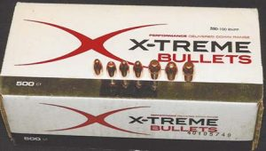 X-Treme bullets for handloading are copper-plated lead. Most calibers are round nose or with flat tips or points, and are available in calibers from .380 to .50. The second bullet from the left among the representative bullets above is a .429 hollowpoint, while the ones on the far right—new 300-grain .458 and third from the right have cannelures.