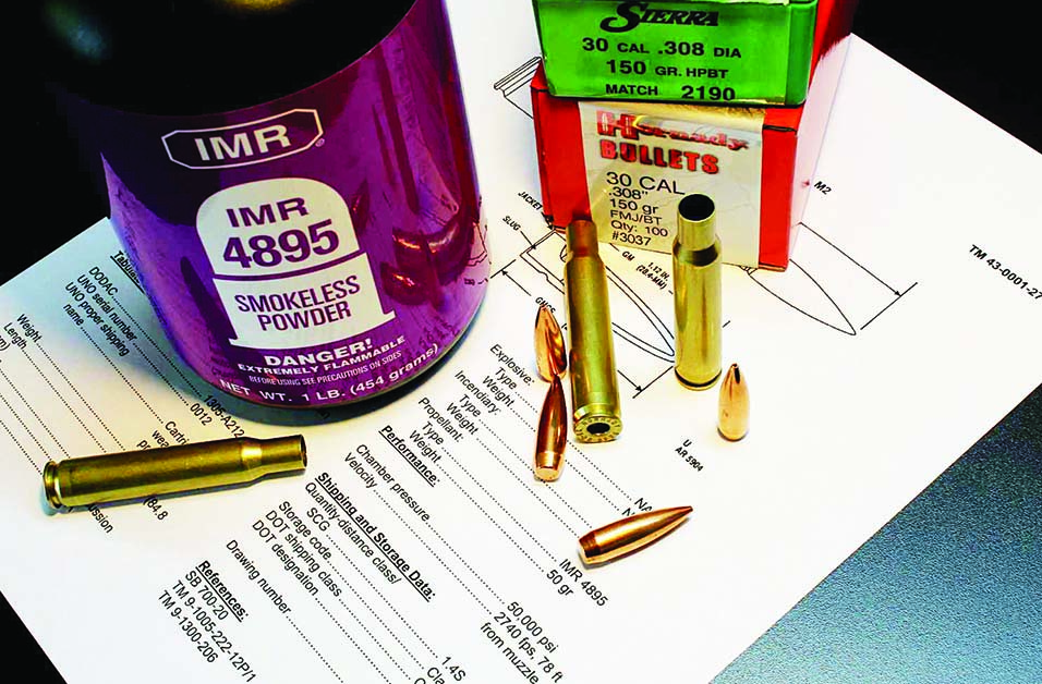 The Army's TM 43-0001-27 spells it out: 50-grains IMR 4895, 2740fps, 50,000psi.