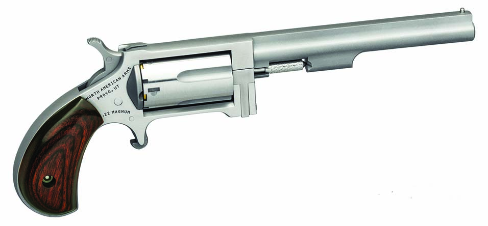 NAA's Sidewinder is also available with a four-inch barrel. Like the smaller edition, it is available with a single cylinder choice of .22 LR or .22 Mag., or as a package with both cylinders. MSRP of the 1-1/2-inch barreled Sidewinder is $349 for either of the basics, and $449 with a combo pairing of both cylinders. The 4-inch model with choice of a single cylinder is $396, and $489 with both cylinders. For more info, visit:northarmericanarms.com, or phone: 800-821-5783.