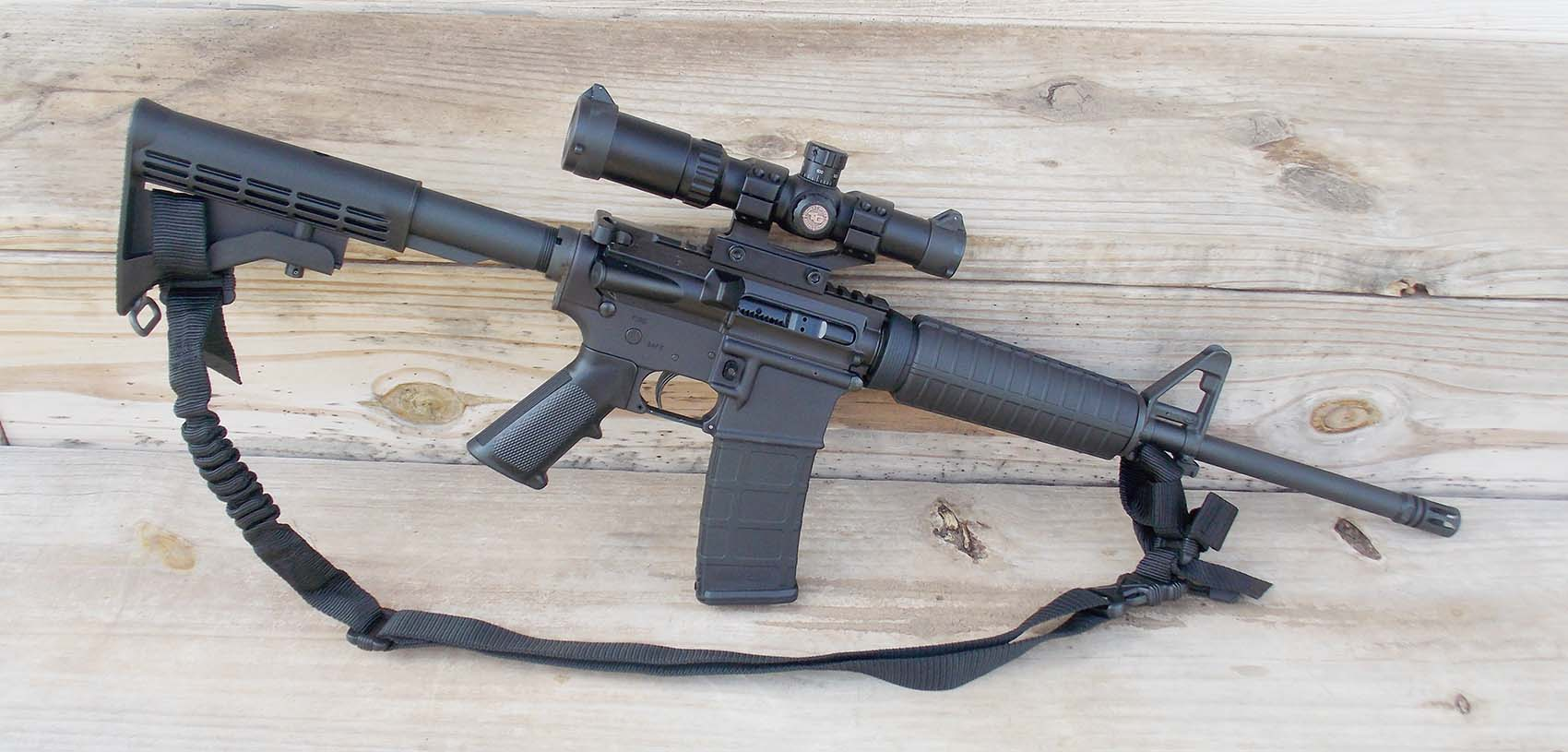 Fitted with a Specter Gear Patrol Sling from Brownells and the TruGlo scope, the Colt Expanse M4 is ready to do the business.