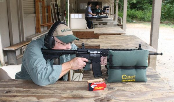 Editor Workman shown field-testing a Ruger SR556.