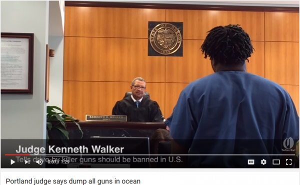 In this screen capture from YouTube, Judge Kenneth Walker declared that he would like to dump all guns in the ocean. (Source: YouTube)