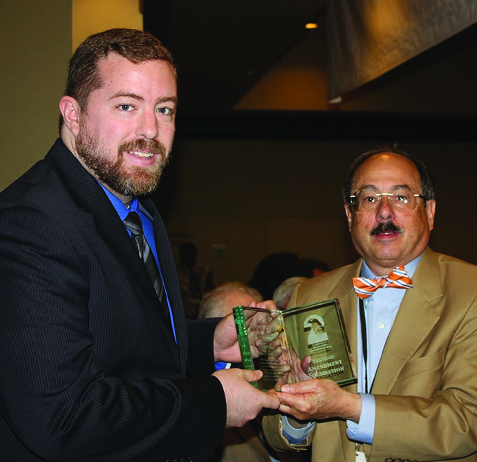 Steven Gutowski (left), a writer at the Washington Free Beacon, was presented with the SAF Journalist of the Year for 2016 award by founder Alan Gottlieb.