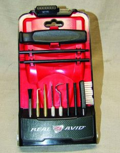 Real Avid's Gun Boss Pro Precision Cleaning Tools shown in their case that folds to give you an easy access stand.