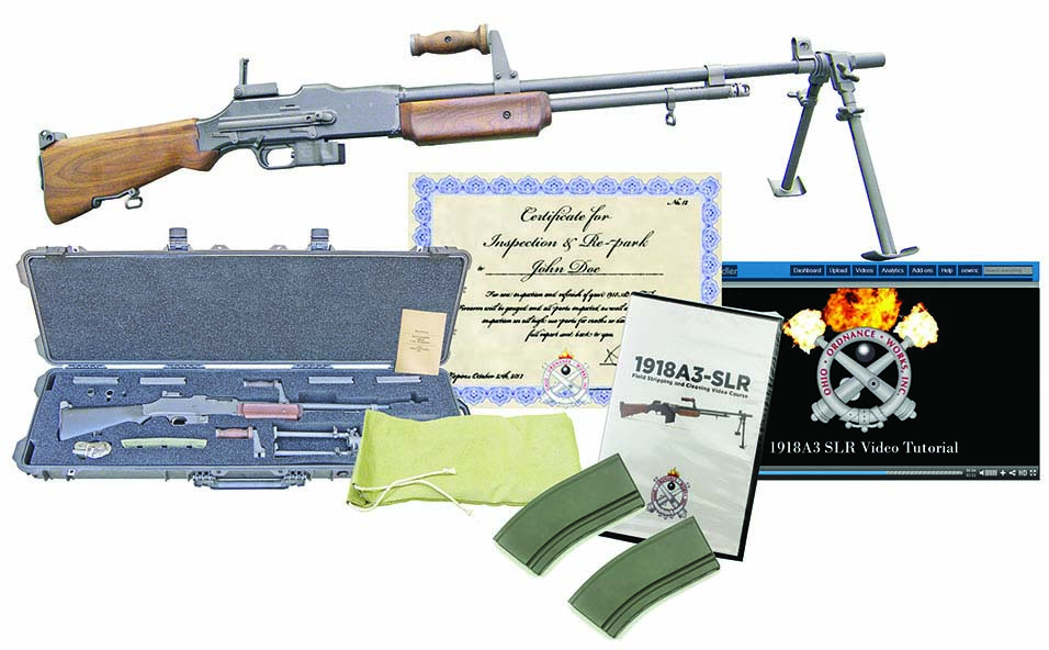 The M1918A3 SLR bundle as a package reviewed here. The package Includes: walnut 1918A3-SLR, two 20-round magazines*, web sling, bipod, carrying handle, flash hider, bolt hold open device, cleaning kit, manual, custom cut Pelican case, maintainance kit, membership site access for video tutorials, certificate for inspections. Ten-round and 15-round magazines are available where mandated by law.