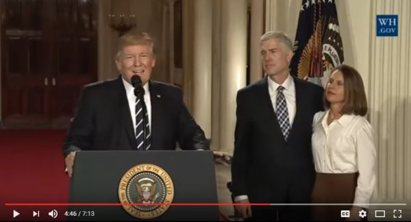 President Donald Trump introduces Judge Neil Gorsuch. (YouTube, White House)