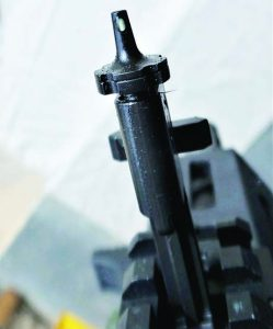 Close-up of the built-in front back-up sight; note tritium insert.