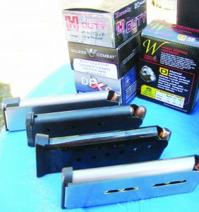The Wiley Clapp CCO proved reliable with all the ammo and the magazines tested. Wilson Combat 8-round mag (back) and 7-rounder (front). Colt 7-round (2nd from back) and 7-round Nighthawk (#2 from front).
