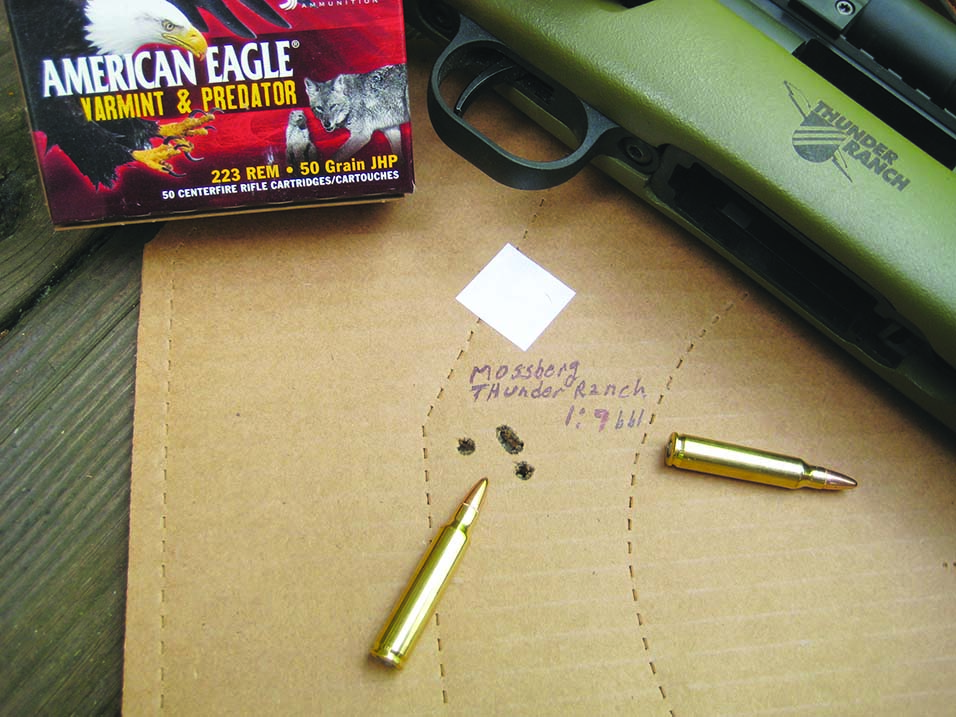 The Thunder Ranch MVP rifle from Mossberg was a stellar performer with the new American Eagle .223 Varmint/Predator ammunition. The 50-gr. hollow point bullets should be poison on varmints.