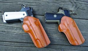 Left holster is one of the first prototype Selous Scouts for a full sized 1911. Right is one of the first Scouts for a Commander-sized pistol.