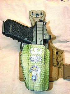 G41 MOS in author's well-traveled custom-finished Safariland GLS holster mounted on leg shroud.