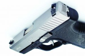 The white bar-dot combat sights on the Kahr pistol are drift adjustable.