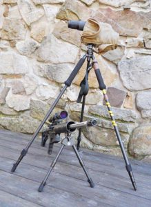 The Javalin bipod mounted on an Alexander Arms AAR17 HMR with the pic rail adapter and the Kapita tripod with Leupold Spotter in place. All of the tripod's legs are removable from the swivel head and the two with foam hand grips do double duty as trekking poles. Author-modified pole/leg is the one with the yellow tape and the rubber foot-cap removed.