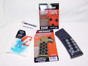 Hexmag supplied their HexGrip Tape, Advanced Tactical Grip, Gen2 Hexmags that accept stripper clips, and HEXIDs to give The Saint a custom feel.
