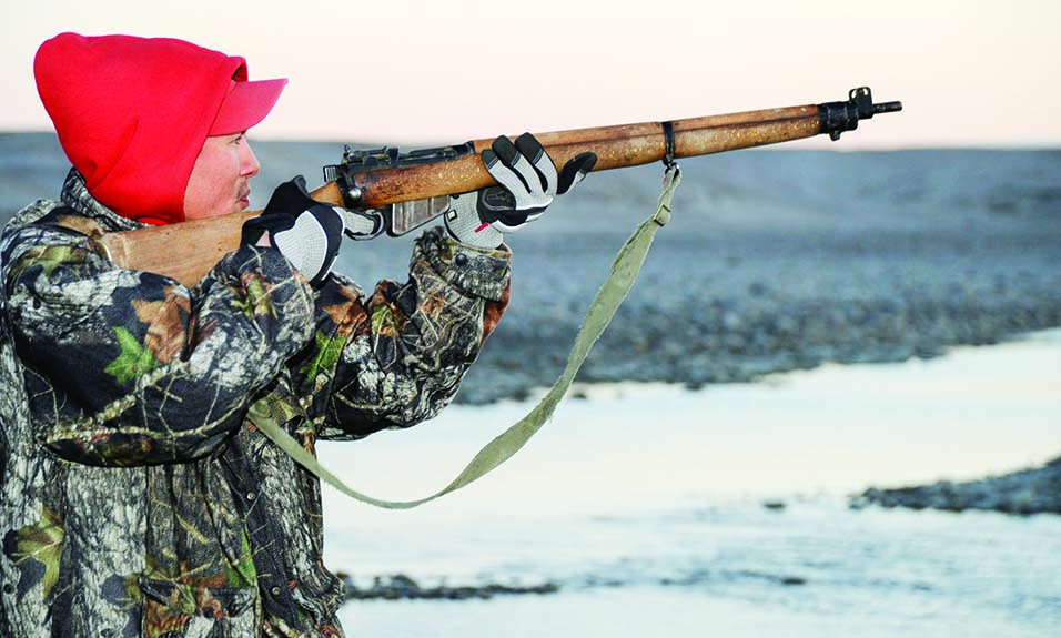 A Canadian Ranger from Gjoa Haven, Nunavu, fires his Lee-Enfield .303 rifle, the weapon of choice of the Canadian Rangers for some 70 years, during Operation NANOOK 13 on August 20, 2013. (Photo courtesy Sargent Alain Martineau)