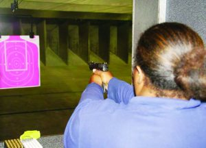 A variety of semi-automatic pistols were used in the LAID firearms introductory class, but all were 9mm to simplify the logistics of providing ammunition for such a large turnout of first-time shooters.