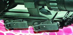 The locking levers of Lucid's QDM Mount.