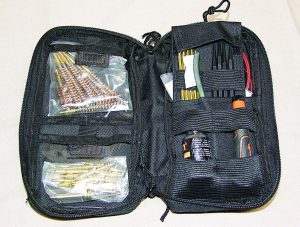 All the Essential Gun All-In-One Care Kit's cleaning rods, CLP, picks and cleaning pads fit into this handy case.