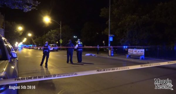 In this Chicago crime scene image from 2016, police investigate one of more than 700 slayings that year in the Windy City. (Source:  Screen capture, YouTube, MaggioNews)
