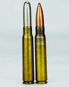 "The same, but different: The 8mm Mauser on the left has a bullet diameter of .315""; the 8mm Mauser on the right, .323""."